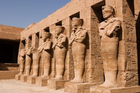 Statues of Ramses II as Osiris in Karnak Temple, Luxor (Thebes) Egypt.