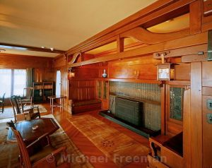 An inglenook fireplace in the living room of Gamble House, a residential American home built in 1908 by renown twentieth century architects the Greene brothers in Pasadena, California.