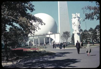 "Trylon, Perisphere and Helicline. 1939 New York World's Fair. E. Theodore ""Ted"" Bachmann (1911-1995) papers, PA 214. ELCA Archives image. http://www.elca.org/archives"
